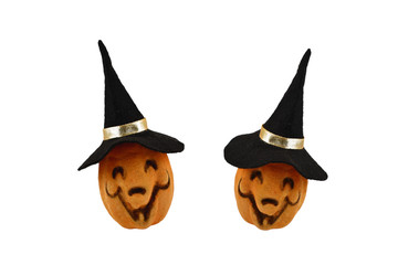 Two Halloween Pumpkins stock images. Haloween pumpkin isolated on a white background. Pumpkin with a witch hat
