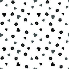 Seamless pattern with black and gray hearts and flowers on a white background. Vector illustration