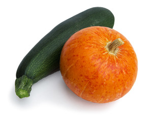 Ripe zucchini along with pumpkin on white background. Autumn