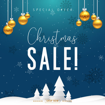 Christmas sale banner. Christmas special offer design vector.