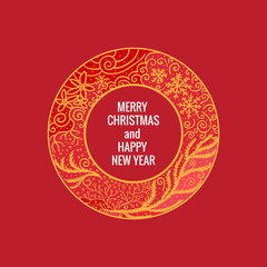 Card Merry Christmas and Happy New Year. Round frame hand drawn yellow color ornaments. Vector illustration isolated on red background.