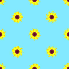 sunflower on a blue background, seamless pattern