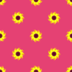 sunflower on a pink background, seamless pattern