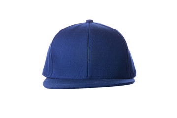 Blue hip hop cap on white background