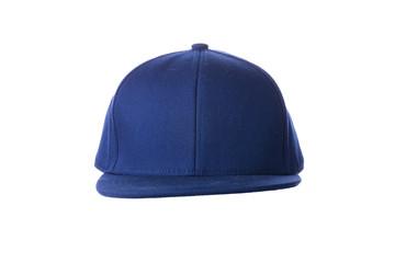 Blue hip hop cap on white background