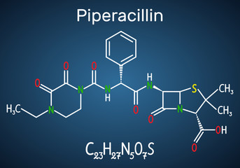 Piperacillin molecule. It is antibiotic drug. Structural chemical formula and molecule model on the dark blue background