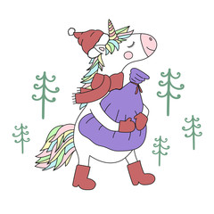 Vector image of an unicorn in a hat, scarf and boots with a bag of gifts. Greeting card with christmas trees on the background. Concept of winter holidays and new year.