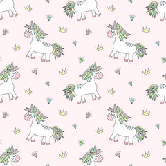 Seamless pattern of hand-drawn cartoon magical unicorns with diamonds and crowns. Vector background image for holiday, baby shower, prints, wrapping paper, girl's birthday.