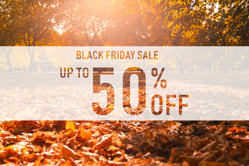 Black friday sale up to 50% off text over colorful fall leaves background. Word Black friday with colorful leaves. Creative nature concept. 50% off discount promotion sale poster, banner, ads