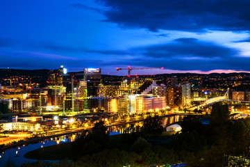 A night view of Sentrum area of Oslo, Norway, with Barcode buildings