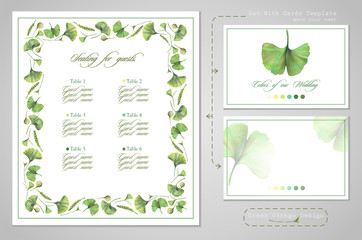 Set for wedding printing: seating for guests or invitations, card for dress code. Illustration of colored pencils, green leaves of ginkgo biloba. A set of templates with ready-made examples.