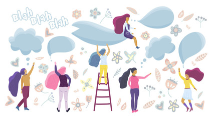 Small girls talking. Vector flat concept for blog and forum.