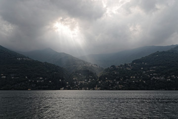 Lake Como and cloudy sunlight, Italy