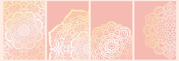 Set of mandala backgrounds isolated on pink. Banner, flyer, card with ornamental flowers. Vector illustration.