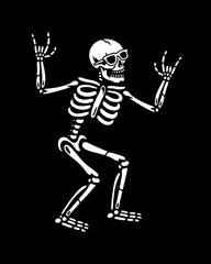 HAPPY SKELETON IN SUNGLASSES WITH ROCK SIGN BLACK BACKGROUND