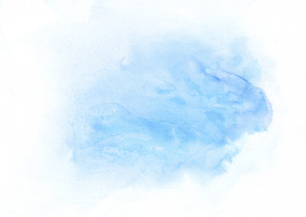 Sky blue watercolor gradient running stain. Beautiful abstract background for designers, mock-ups, invitations, postcards, web, canvas for text and congratulations