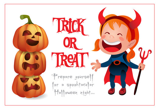 Trick or Treat lettering with kid wearing devil costume. Invitation or advertising design. Typed text, calligraphy. For leaflets, brochures, invitations, posters or banners.