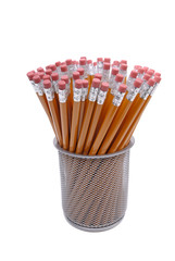 Pencils With Erasures In A Holder
