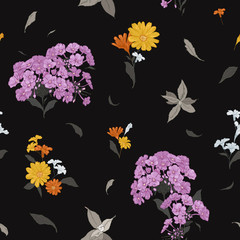 Seamless vector floral pattern with abstract flowers hand-drawn in sketch style in bright colors on black background