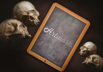 Blackboard with Skulls Mockup