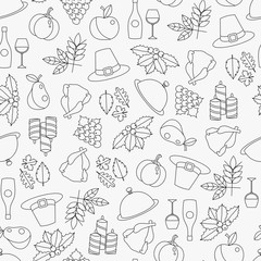Line vector seamless pattern of Thanksgiving objects and symbols