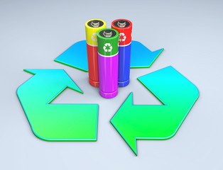3d illustration of three colored batteries standing in the middle of a recycle symbol