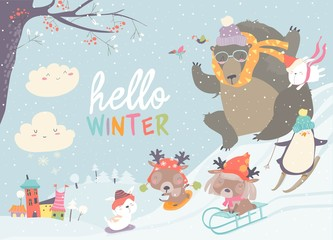 Happy cute animals playing winter games. Hello winter