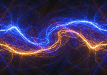 Fire and ice electrical lightning, abstract plasma background