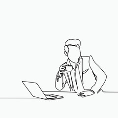One line art drawing of a man drinking a coffee with a notebook in the office.