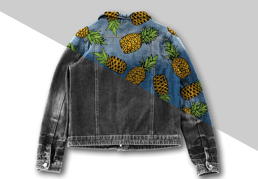Dyed and Patterned Denim Jacket Mockup
