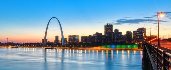 The St. Louis, Missouri skyline and Gateway Arch from Eads Bridge.