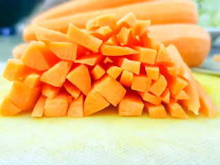 Knife with some cutted carrots
