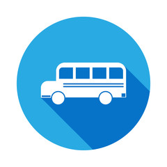 school bus icon with long shadow. Vector graduation icon. Education, academic degree. Signs, outline symbols collection, simple icon for websites, web design, mobile app