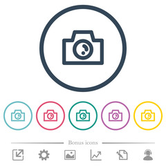 Camera flat color icons in round outlines