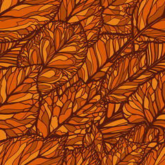 Seamless floral pattern. Leaves, autumn backdrop. Decorative background vector illustration