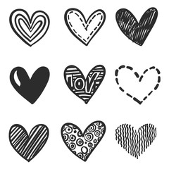 Set of hand drawn hearts. Vector design element for Valentine's day. Various design doodle hearts set. Monochrome hand drawn icons.