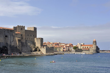 Panorama of Collioure from the port with a view of the village