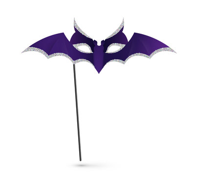 Vector Halloween carnival mask with handle, violet bat silhouette