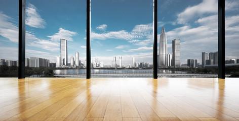 Fototapete - cityscape outside of window