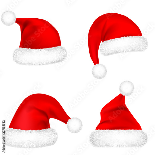 341d4085bcc80 Christmas Santa Claus Hats With Fur Set. New Year Red Hat Isolated on White  Background