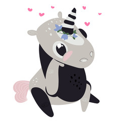 Vector illustration of cute unicorns with a black and grey suit.