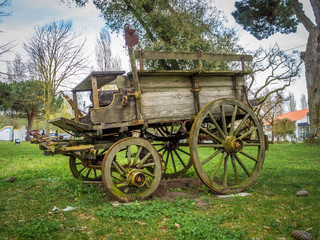 A very old carriage parked at garden