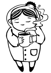 Black line art isolated on white background. A lovely cold winter girl drinking hot tea from a large mug