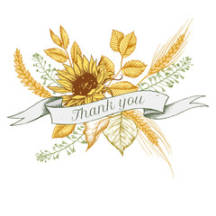 Ribbon design of sunflower and rye with thank you sing. Hand drawn vector illustration
