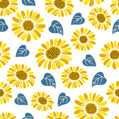 Seamless doodle sunflower pattern.