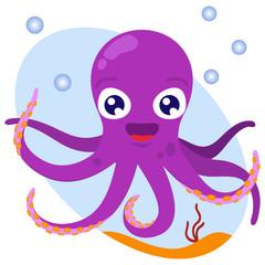 Радостный фиолетовый осьминог. Векторный рисунок в стиле мультфильм.
