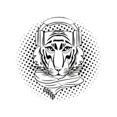 Hipster tiger cool sketch