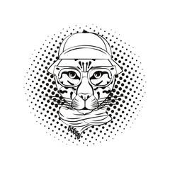Hipster leopard cool sketch