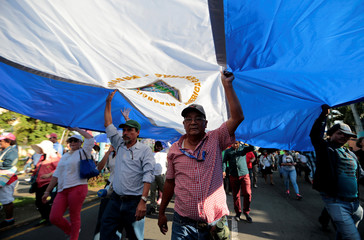 "Supporters of Nicaraguan President Daniel Ortega hold a big national flag during a march called ""Let's go ahead! With faith and hope!"" in Managua"