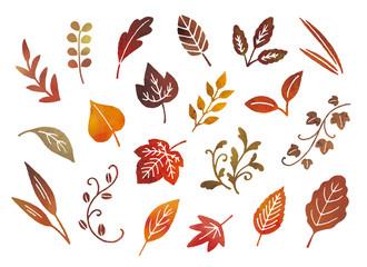 秋冬の葉水彩